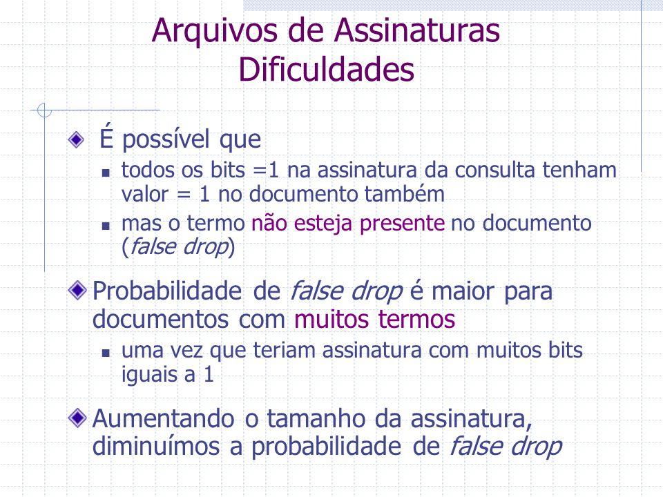 Arquivos de Assinaturas Consultas Em outras palavras... Se qualquer bit com valor = 1 na assinatura da consulta tiver valor = 0 na assinatura do docum