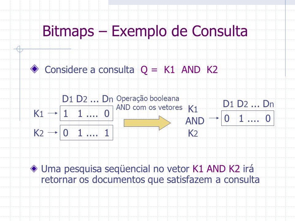 Bitmaps Consultas Para consultas com um termo simples pesquisa o vetor do termo (linha da matriz) de forma seqüencial  Compara bit a bit retorna os d