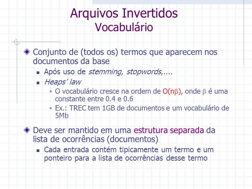 """Arquivos de Índices Invertidos É um """"mecanismo"""" que utiliza palavras para indexar uma coleção de documentos a fim de facilitar a busca e a recuperação"""