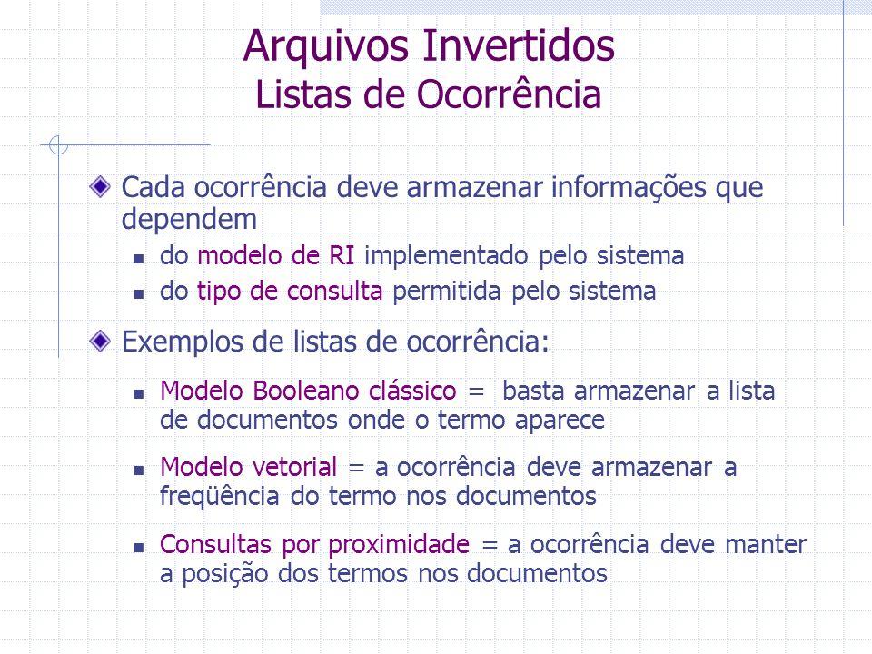 Arquivos Invertidos Vocabulário Conjunto de (todos os) termos que aparecem nos documentos da base Após uso de stemming, stopwords,....