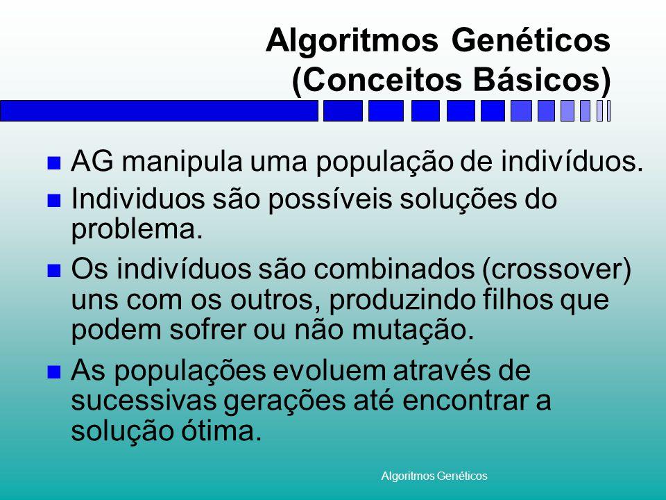 Algoritmos Genéticos Aplicações Em problemas díficeis de otimização, quando não existe nenhuma outra técnica especifica para resolver o problema.