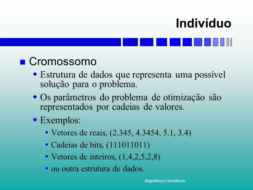 Algoritmos Genéticos Individuo (II) Aptidão  Nota associada ao indíviduo que avalia quão boa é a solução por ele representada.