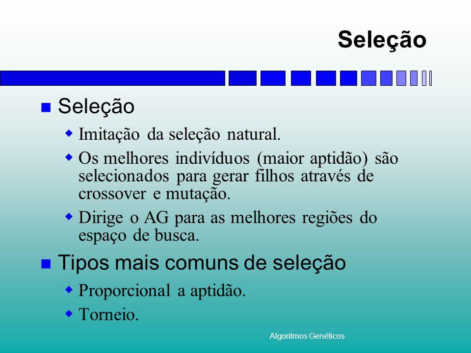 Algoritmos Genéticos Seleção  Imitação da seleção natural.