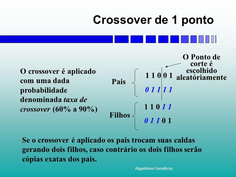 Algoritmos Genéticos Mutação A mutação é aplicada com dada probabilidade, denominada taxa de mutação (~1%), em cada um dos bits do cromossomo.