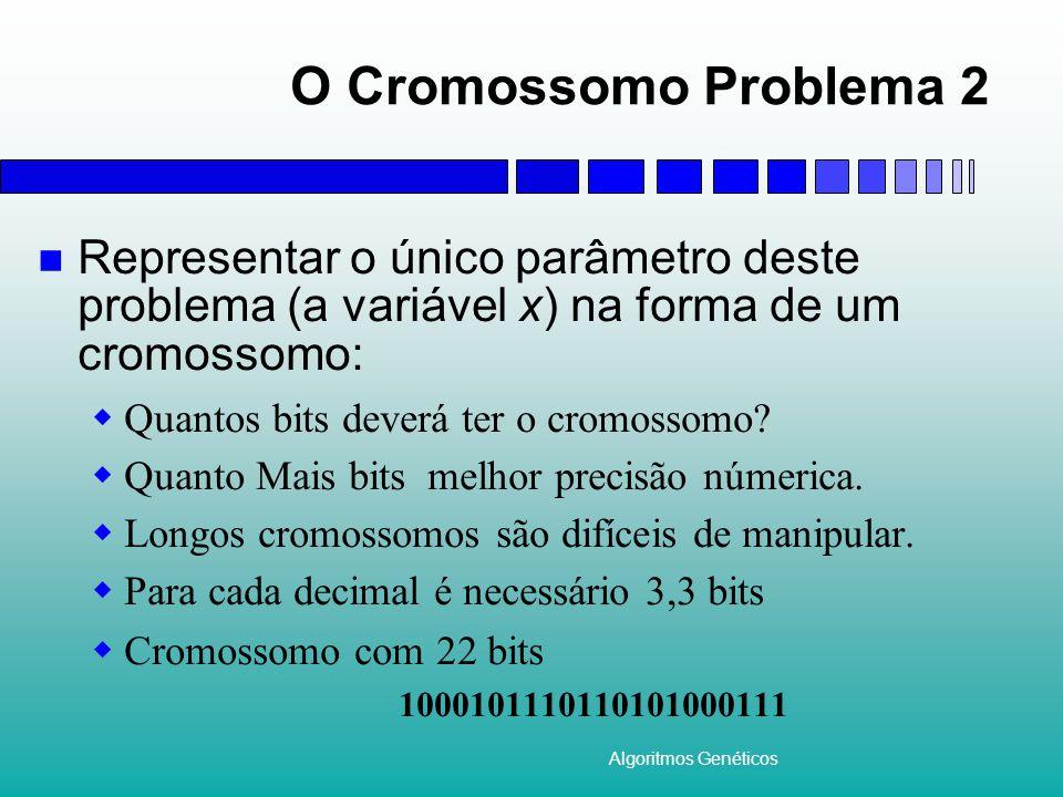 Algoritmos Genéticos O Cromossomo Problema 2 Representar o único parâmetro deste problema (a variável x) na forma de um cromossomo:  Quantos bits deverá ter o cromossomo.