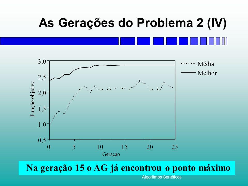 Algoritmos Genéticos As Gerações do Problema 2 (IV) Na geração 15 o AG já encontrou o ponto máximo
