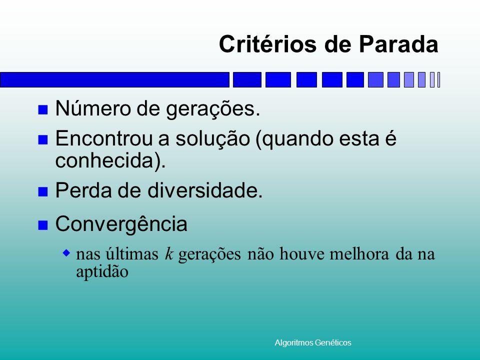 Algoritmos Genéticos Critérios de Parada Número de gerações.