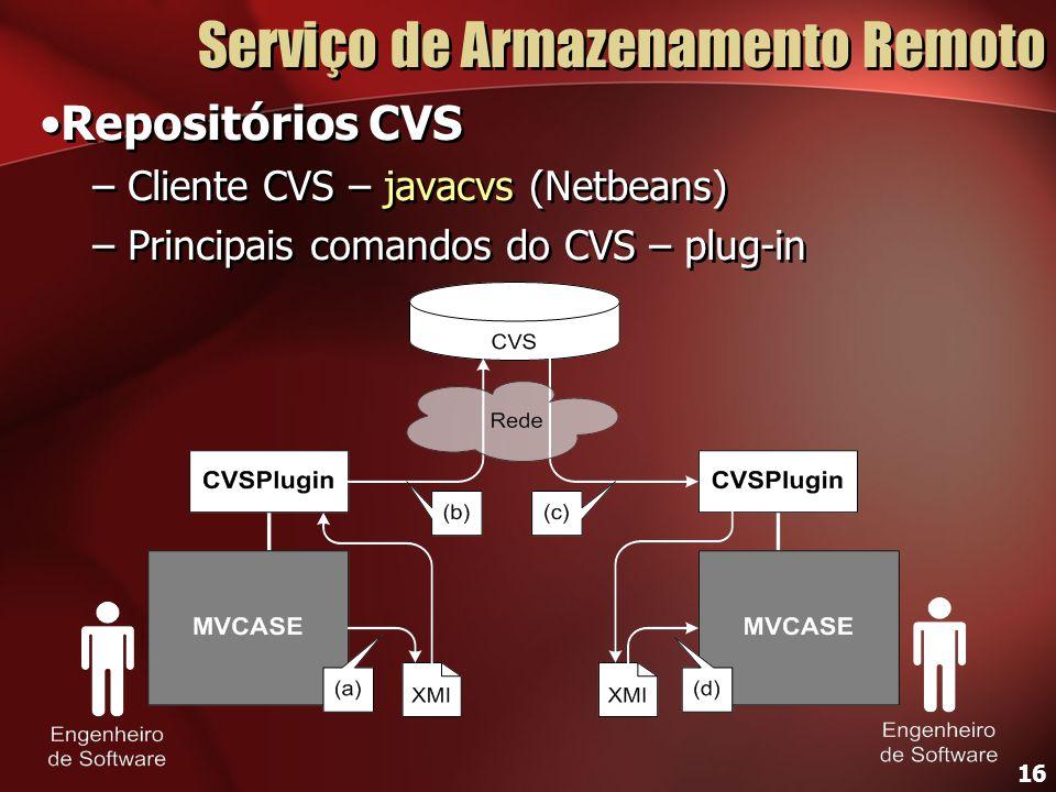 16 Serviço de Armazenamento Remoto Repositórios CVS – Cliente CVS – javacvs (Netbeans) – Principais comandos do CVS – plug-in Repositórios CVS – Clien