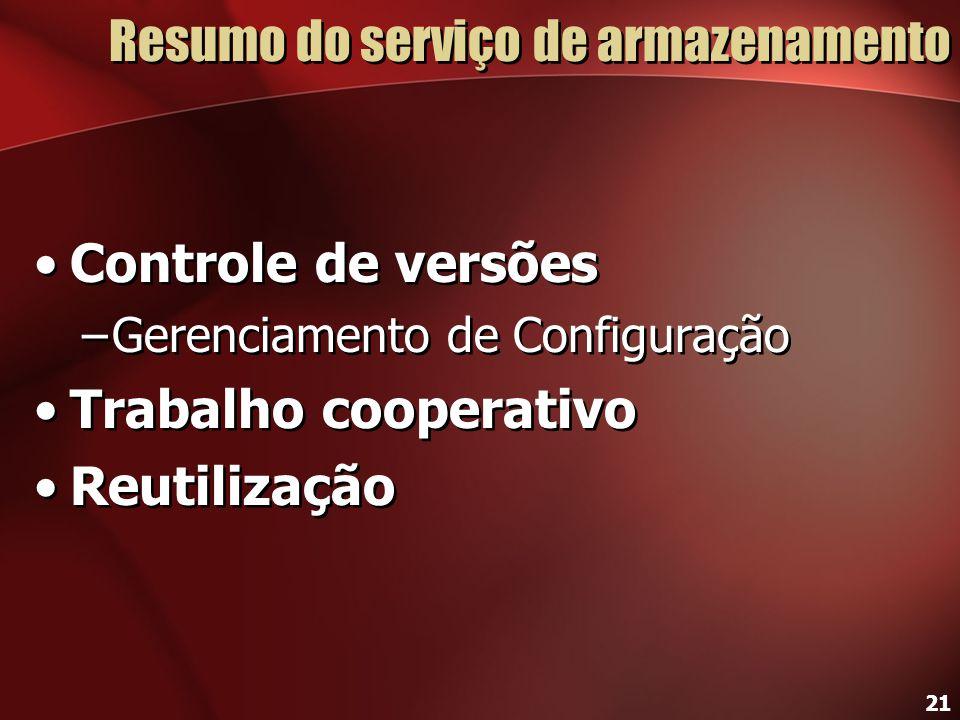 21 Resumo do serviço de armazenamento Controle de versões –Gerenciamento de Configuração Trabalho cooperativo Reutilização Controle de versões –Gerenc