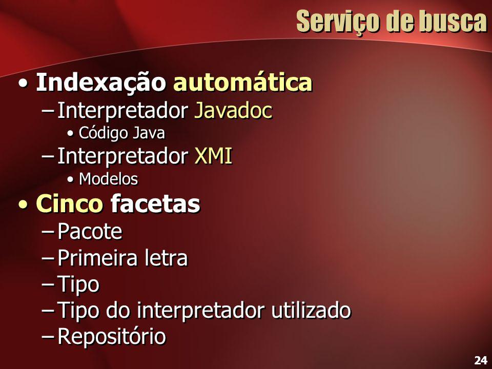 24 Serviço de busca Indexação automática –Interpretador Javadoc Código Java –Interpretador XMI Modelos Cinco facetas –Pacote –Primeira letra –Tipo –Ti