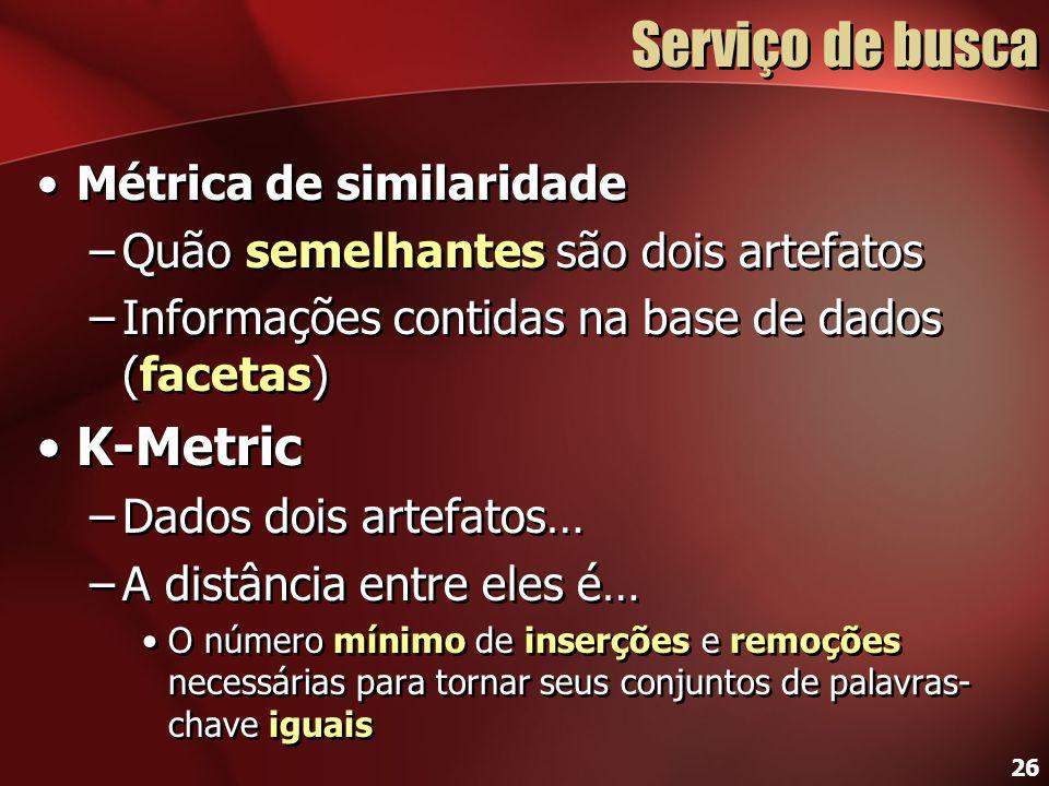 26 Serviço de busca Métrica de similaridade –Quão semelhantes são dois artefatos –Informações contidas na base de dados (facetas) K-Metric –Dados dois