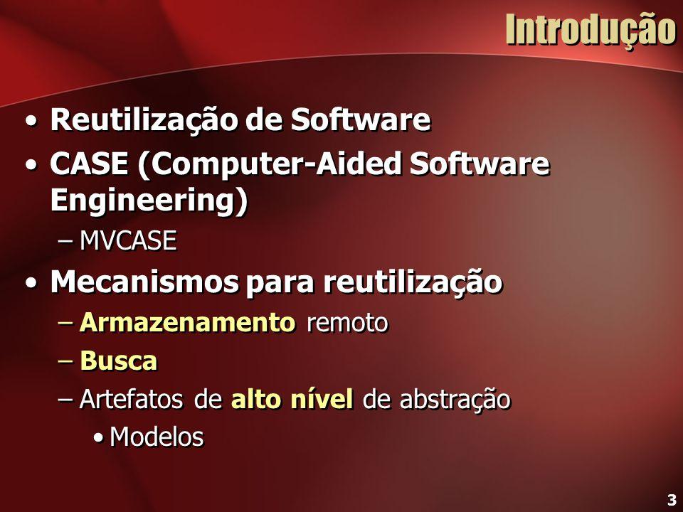 3 Introdução Reutilização de Software CASE (Computer-Aided Software Engineering) –MVCASE Mecanismos para reutilização –Armazenamento remoto –Busca –Ar