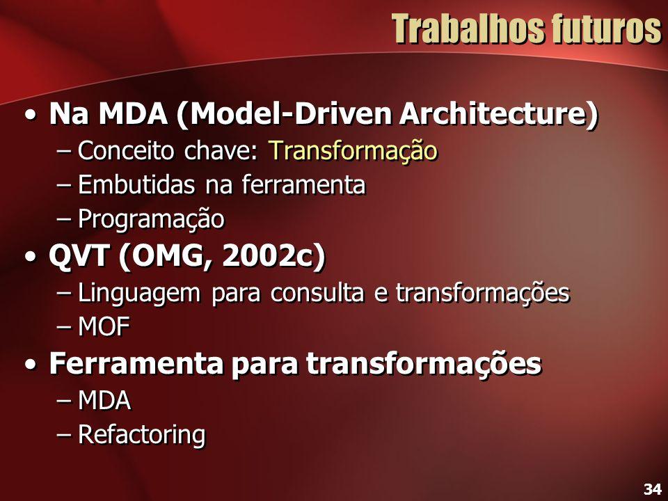 34 Trabalhos futuros Na MDA (Model-Driven Architecture) –Conceito chave: Transformação –Embutidas na ferramenta –Programação QVT (OMG, 2002c) –Linguag