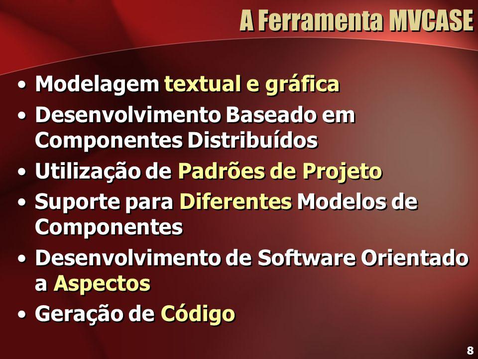 8 A Ferramenta MVCASE Modelagem textual e gráfica Desenvolvimento Baseado em Componentes Distribuídos Utilização de Padrões de Projeto Suporte para Di