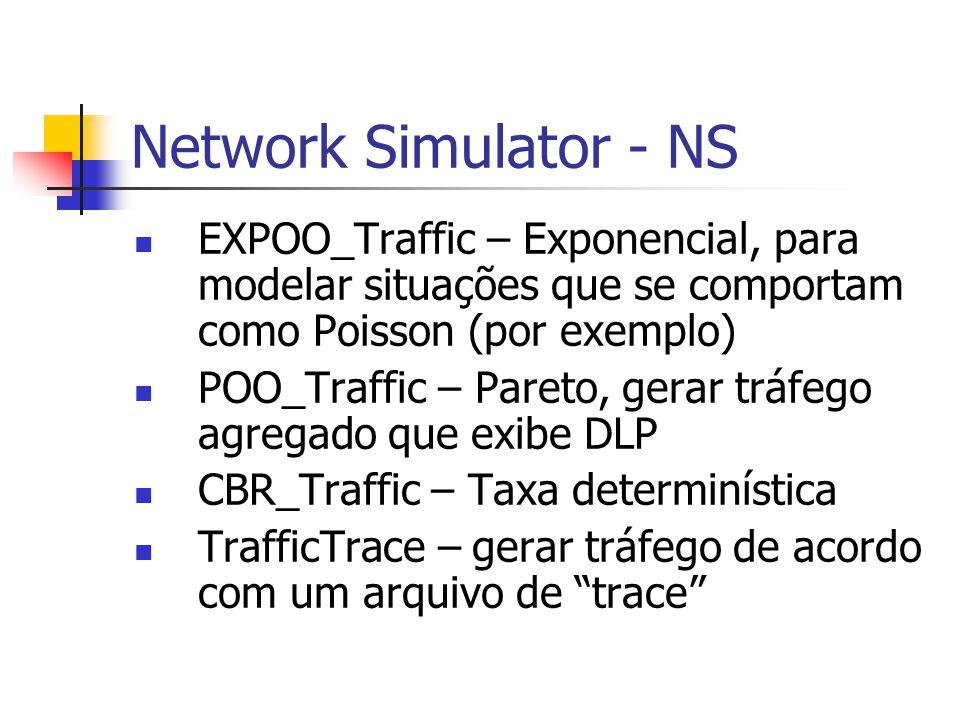 Network Simulator - NS EXPOO_Traffic – Exponencial, para modelar situações que se comportam como Poisson (por exemplo) POO_Traffic – Pareto, gerar trá