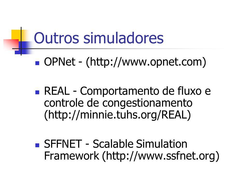 Outros simuladores OPNet - (http://www.opnet.com) REAL - Comportamento de fluxo e controle de congestionamento (http://minnie.tuhs.org/REAL) SFFNET -