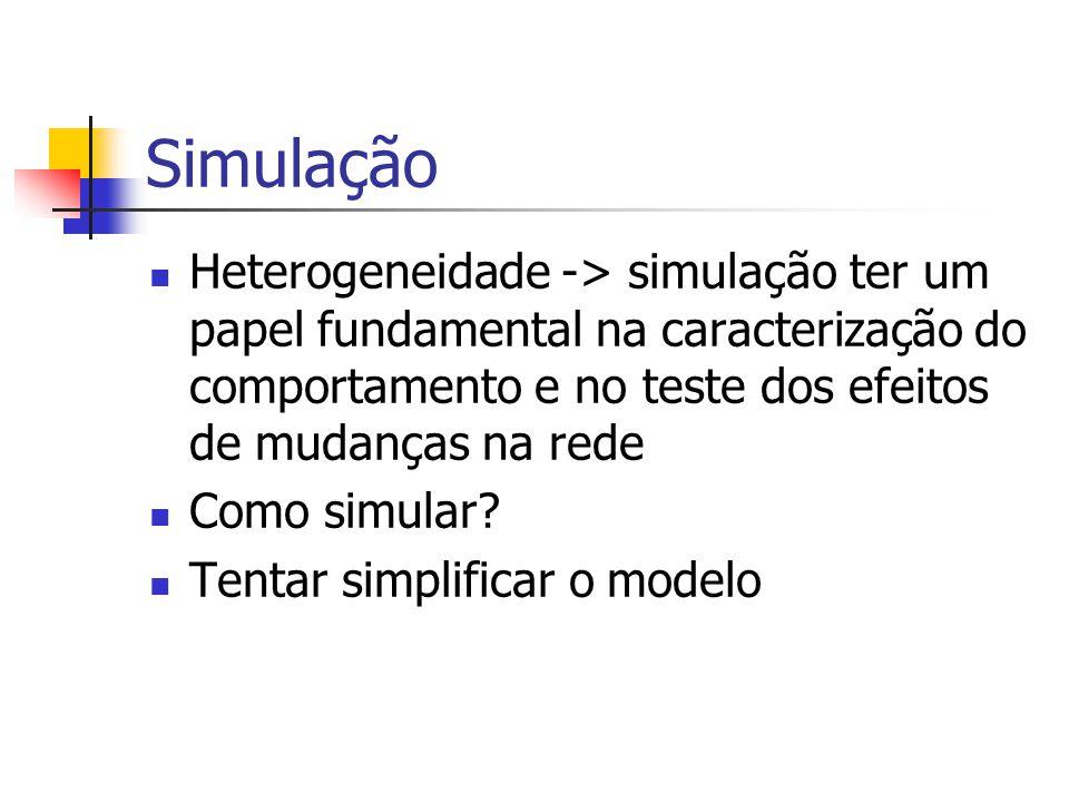 Simulação Heterogeneidade -> simulação ter um papel fundamental na caracterização do comportamento e no teste dos efeitos de mudanças na rede Como sim