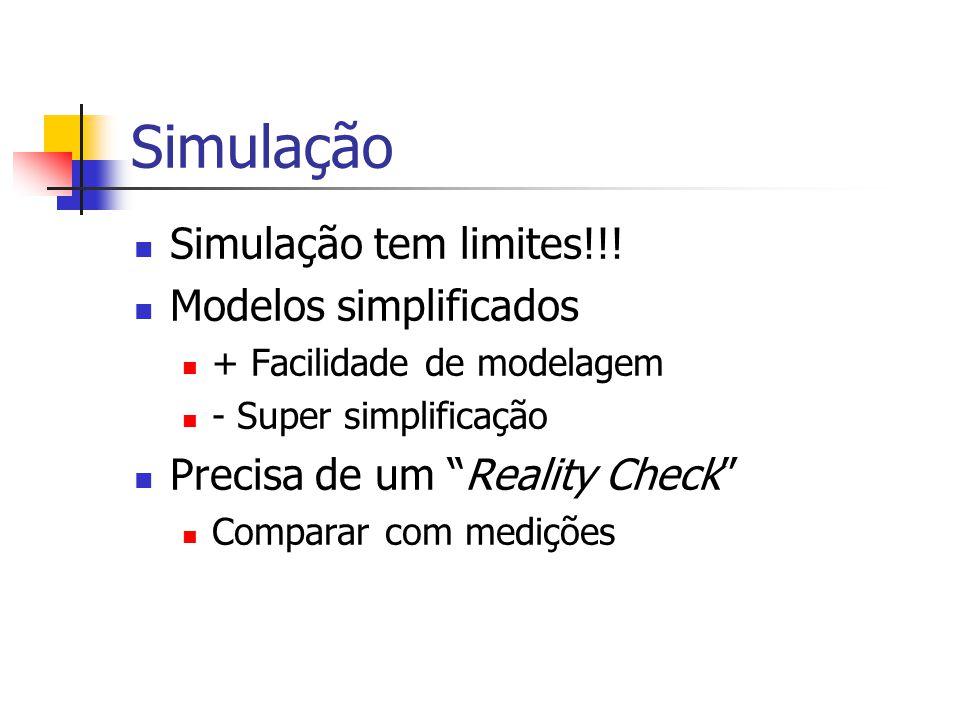 """Simulação Simulação tem limites!!! Modelos simplificados + Facilidade de modelagem - Super simplificação Precisa de um """"Reality Check"""" Comparar com me"""