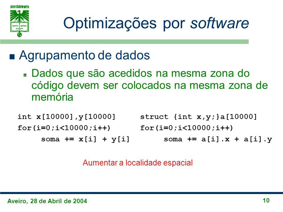 Aveiro, 28 de Abril de 2004 10 Optimizações por software Agrupamento de dados Dados que são acedidos na mesma zona do código devem ser colocados na mesma zona de memória int x[10000],y[10000] for(i=0;i<10000;i++) soma += x[i] + y[i] struct {int x,y;}a[10000] for(i=0;i<10000;i++) soma += a[i].x + a[i].y Aumentar a localidade espacial