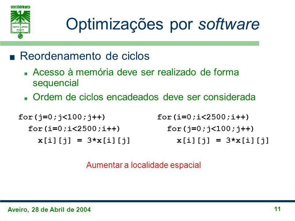 Aveiro, 28 de Abril de 2004 11 Optimizações por software Reordenamento de ciclos Acesso à memória deve ser realizado de forma sequencial Ordem de ciclos encadeados deve ser considerada for(j=0;j<100;j++) for(i=0;i<2500;i++) x[i][j] = 3*x[i][j] for(i=0;i<2500;i++) for(j=0;j<100;j++) x[i][j] = 3*x[i][j] Aumentar a localidade espacial