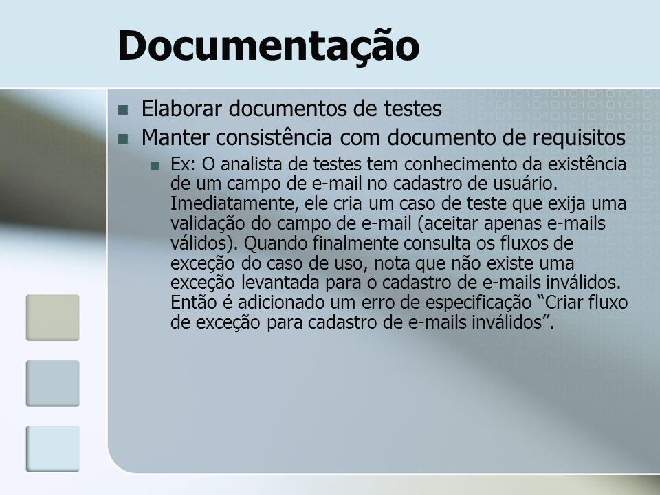 Documentação Elaborar documentos de testes Manter consistência com documento de requisitos Ex: O analista de testes tem conhecimento da existência de