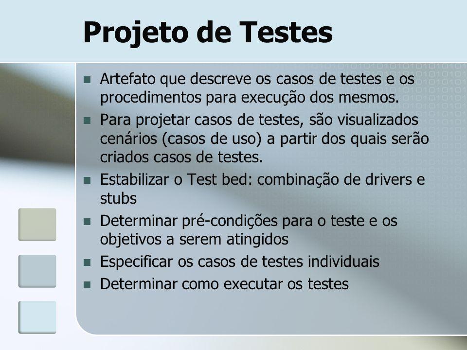 Projeto de Testes Artefato que descreve os casos de testes e os procedimentos para execução dos mesmos. Para projetar casos de testes, são visualizado