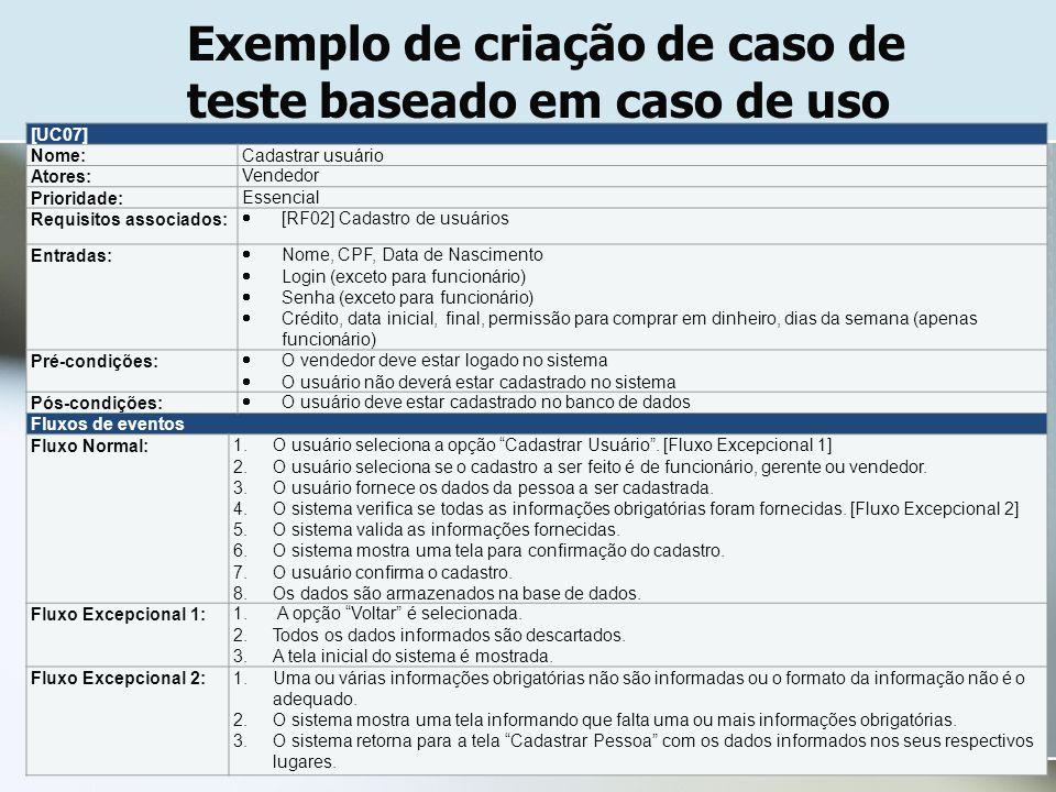 Exemplo de criação de caso de teste baseado em caso de uso [UC07] Nome:Cadastrar usuário Atores:Vendedor Prioridade:Essencial Requisitos associados: 