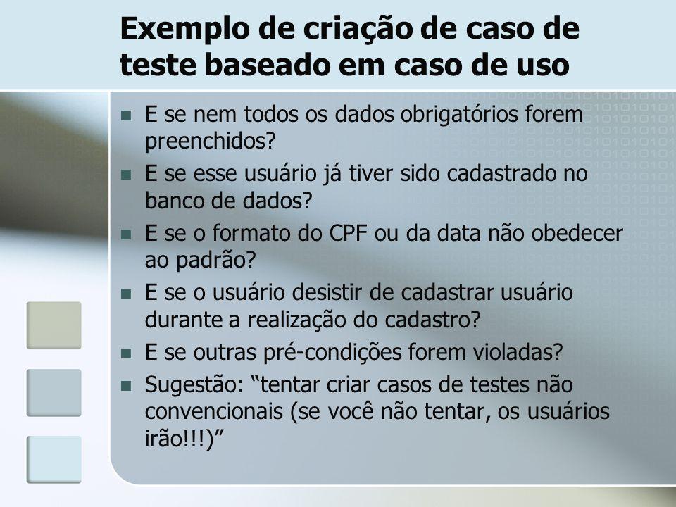 Exemplo de criação de caso de teste baseado em caso de uso E se nem todos os dados obrigatórios forem preenchidos? E se esse usuário já tiver sido cad