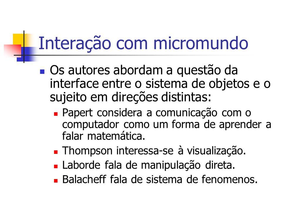 Interação com micromundo Os autores abordam a questão da interface entre o sistema de objetos e o sujeito em direções distintas: Papert considera a comunicação com o computador como um forma de aprender a falar matemática.