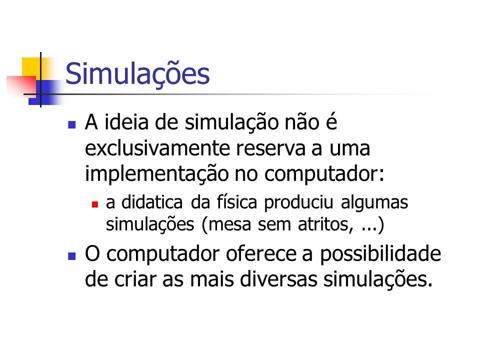 Simulações A ideia de simulação não é exclusivamente reserva a uma implementação no computador: a didatica da física produciu algumas simulações (mesa