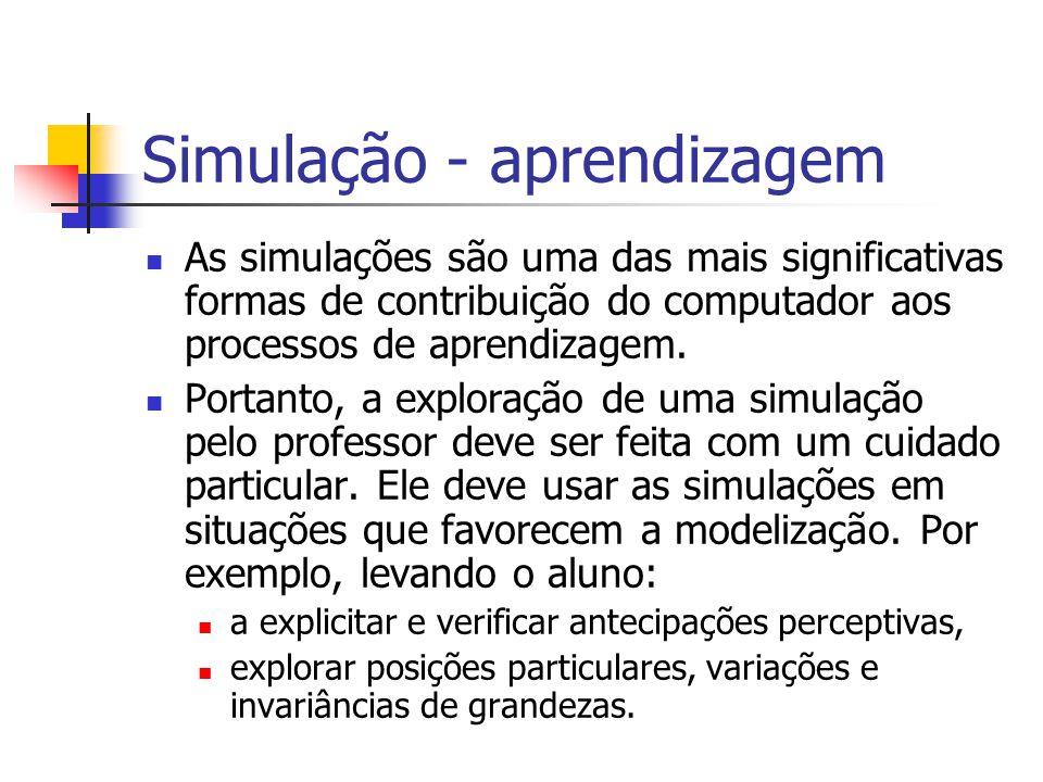 Simulação - aprendizagem As simulações são uma das mais significativas formas de contribuição do computador aos processos de aprendizagem. Portanto, a