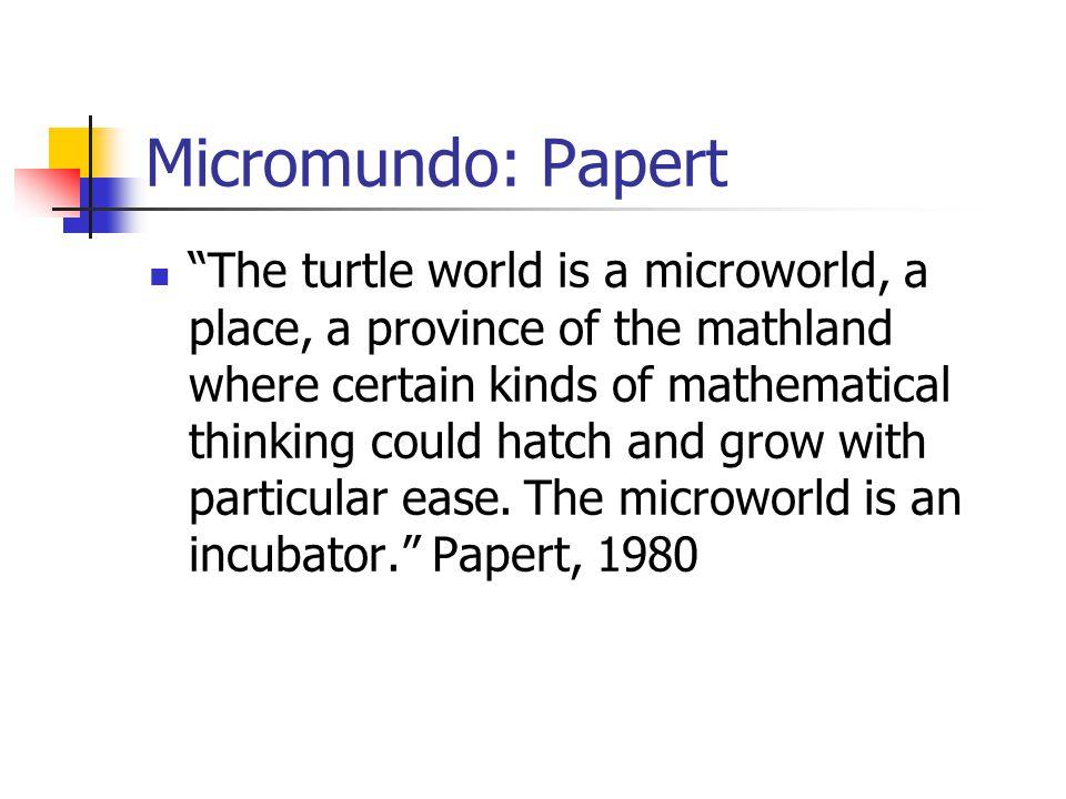 Micromundo O objetivo do micromundo é oferecer operadores sobre objetos concretos respeitandos leis formais.