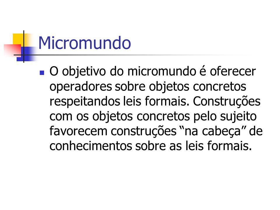 Micromundo O objetivo do micromundo é oferecer operadores sobre objetos concretos respeitandos leis formais. Construções com os objetos concretos pelo