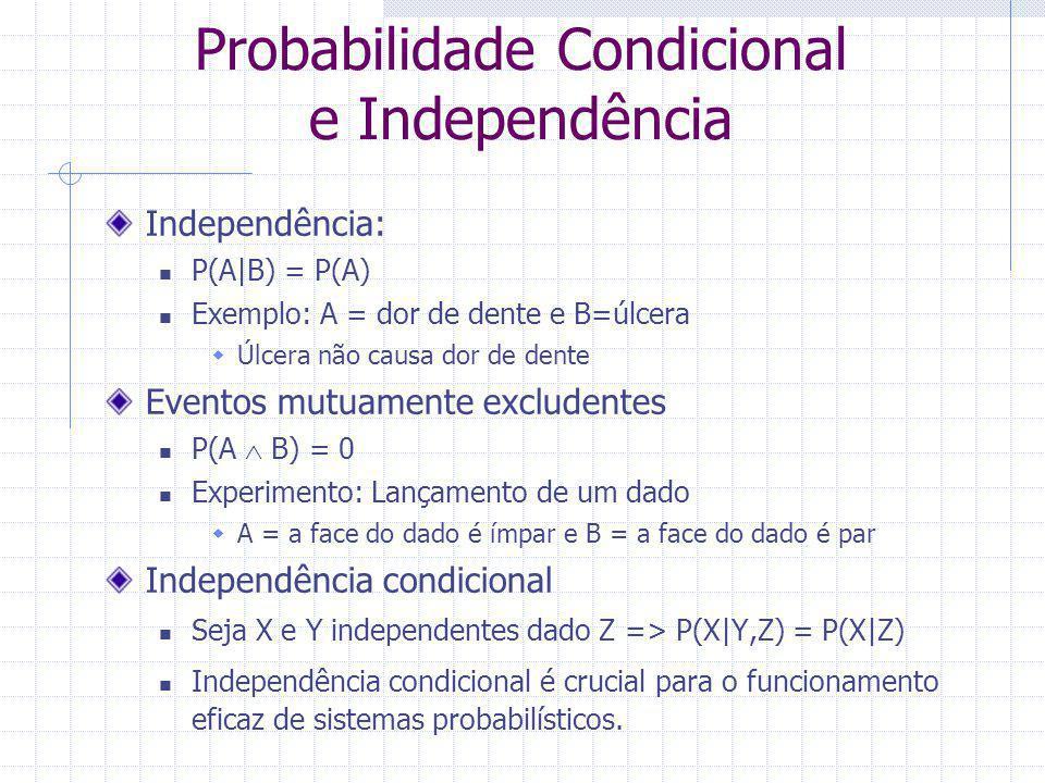 Probabilidade Condicional e Independência Independência: P(A|B) = P(A) Exemplo: A = dor de dente e B=úlcera  Úlcera não causa dor de dente Eventos mu
