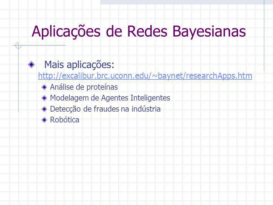 Mais aplicações: http://excalibur.brc.uconn.edu/~baynet/researchApps.htm http://excalibur.brc.uconn.edu/~baynet/researchApps.htm Análise de proteínas Modelagem de Agentes Inteligentes Detecção de fraudes na indústria Robótica Aplicações de Redes Bayesianas