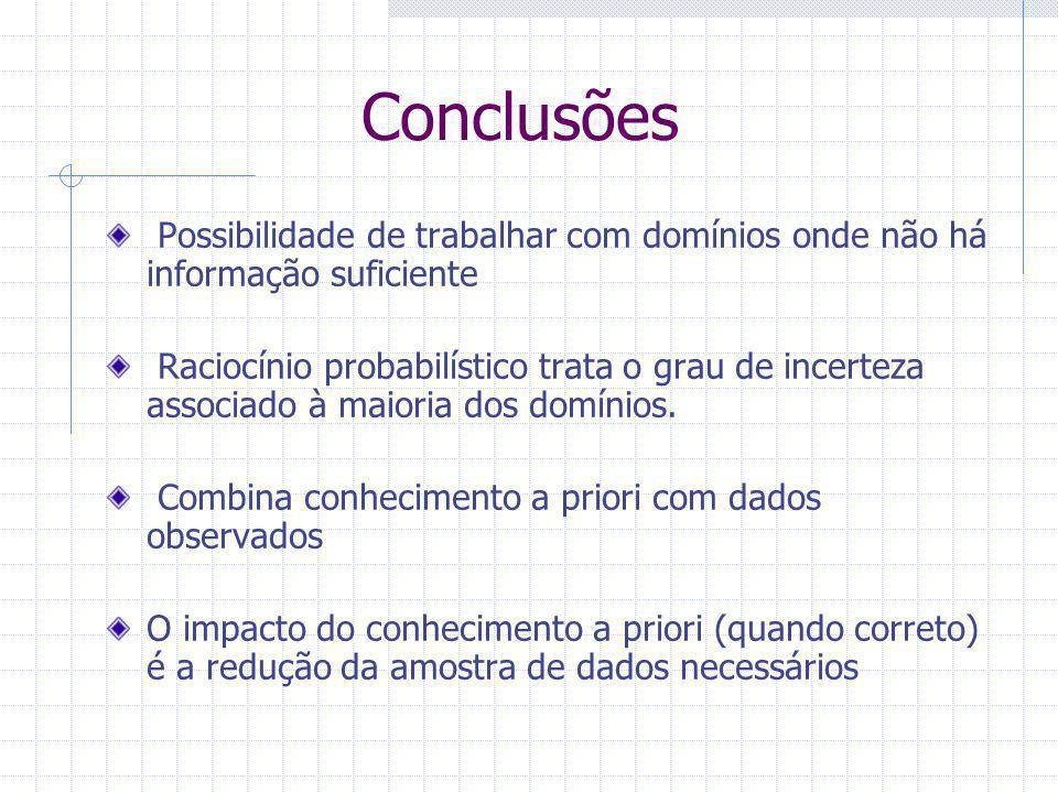 Conclusões Possibilidade de trabalhar com domínios onde não há informação suficiente Raciocínio probabilístico trata o grau de incerteza associado à maioria dos domínios.