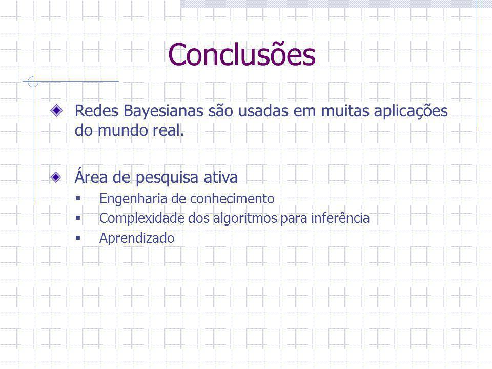 Redes Bayesianas são usadas em muitas aplicações do mundo real. Área de pesquisa ativa  Engenharia de conhecimento  Complexidade dos algoritmos para