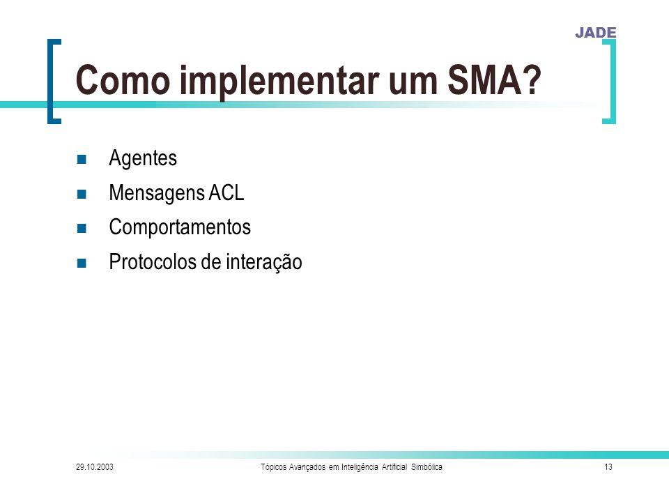 JADE 29.10.2003Tópicos Avançados em Inteligência Artificial Simbólica13 Como implementar um SMA.