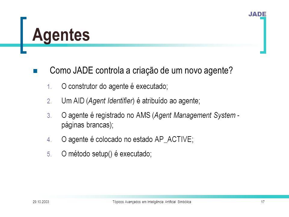 JADE 29.10.2003Tópicos Avançados em Inteligência Artificial Simbólica17 Agentes Como JADE controla a criação de um novo agente.