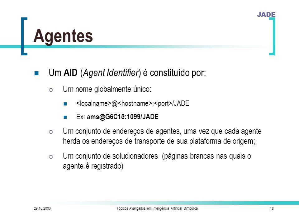JADE 29.10.2003Tópicos Avançados em Inteligência Artificial Simbólica18 Agentes Um AID ( Agent Identifier ) é constituído por:  Um nome globalmente único: @ : /JADE Ex: ams@G6C15:1099/JADE  Um conjunto de endereços de agentes, uma vez que cada agente herda os endereços de transporte de sua plataforma de origem;  Um conjunto de solucionadores (páginas brancas nas quais o agente é registrado)