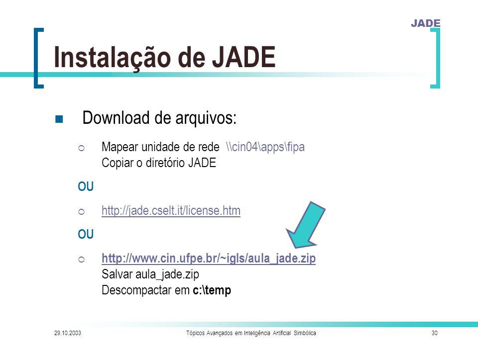 JADE 29.10.2003Tópicos Avançados em Inteligência Artificial Simbólica30 Instalação de JADE Download de arquivos:  Mapear unidade de rede \\cin04\apps\fipa Copiar o diretório JADE OU  http://jade.cselt.it/license.htm http://jade.cselt.it/license.htm OU  http://www.cin.ufpe.br/~igls/aula_jade.zip Salvar aula_jade.zip Descompactar em c:\temp http://www.cin.ufpe.br/~igls/aula_jade.zip