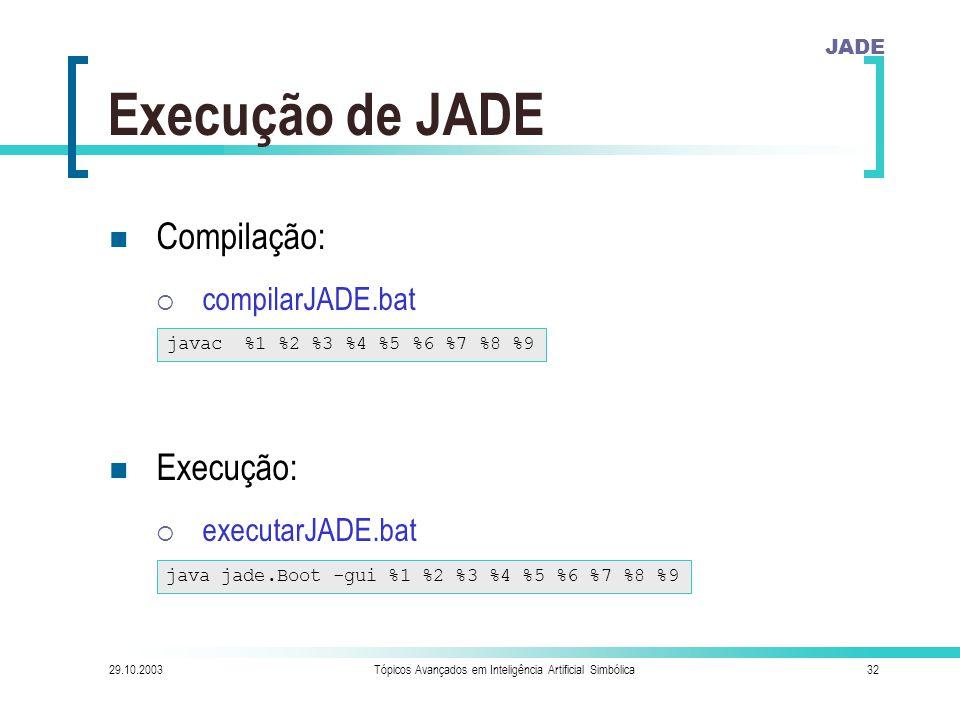 JADE 29.10.2003Tópicos Avançados em Inteligência Artificial Simbólica32 Execução de JADE Compilação:  compilarJADE.bat Execução:  executarJADE.bat javac %1 %2 %3 %4 %5 %6 %7 %8 %9 java jade.Boot -gui %1 %2 %3 %4 %5 %6 %7 %8 %9