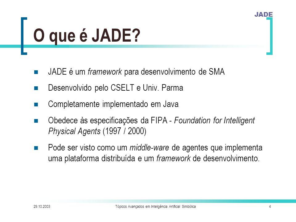 JADE 29.10.2003Tópicos Avançados em Inteligência Artificial Simbólica4 O que é JADE.