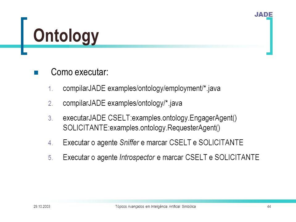 JADE 29.10.2003Tópicos Avançados em Inteligência Artificial Simbólica44 Ontology Como executar: 1.