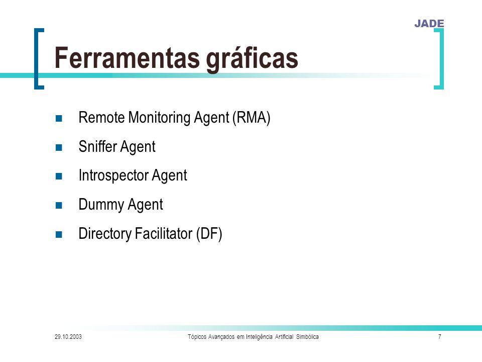 JADE 29.10.2003Tópicos Avançados em Inteligência Artificial Simbólica7 Ferramentas gráficas Remote Monitoring Agent (RMA) Sniffer Agent Introspector Agent Dummy Agent Directory Facilitator (DF)
