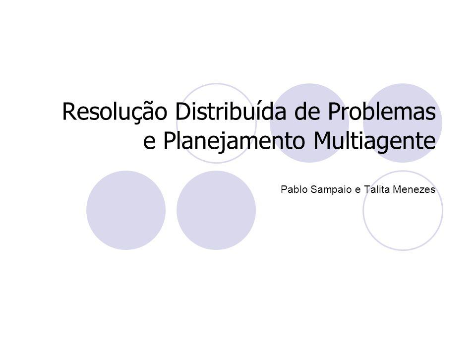 Tópicos 1.Introdução 2.Resolução Distribuída de Problemas 3.Planejamento Clássico e Planejamento Multiagente 4.Planejamento Centralizado de Planos Distribuídos 5.Planejamento Distribuído de Planos Centralizados 6.Planejamento Distribuído de Planos Distribuídos 7.Execução de Planos Distribuídos 8.Conclusão