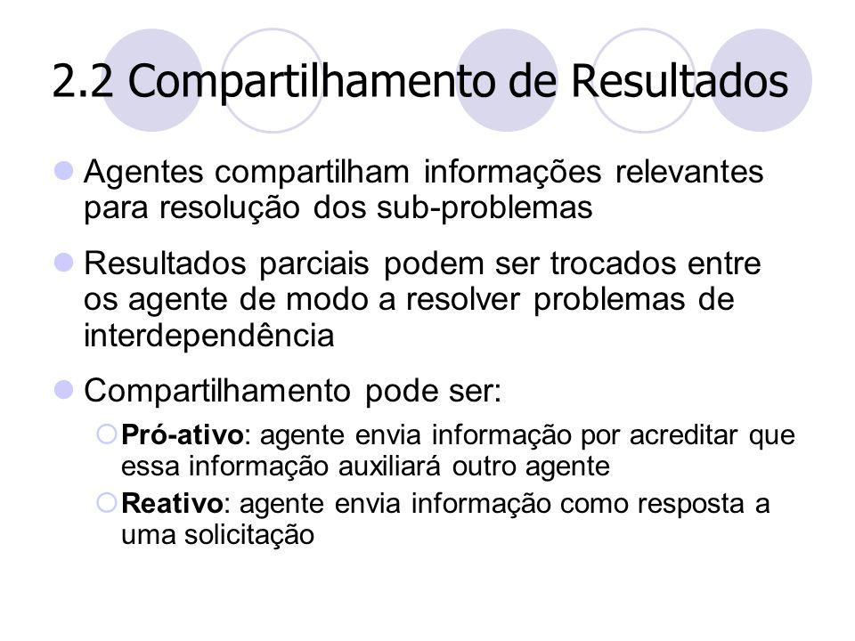 2.2 Compartilhamento de Resultados Agentes compartilham informações relevantes para resolução dos sub-problemas Resultados parciais podem ser trocados