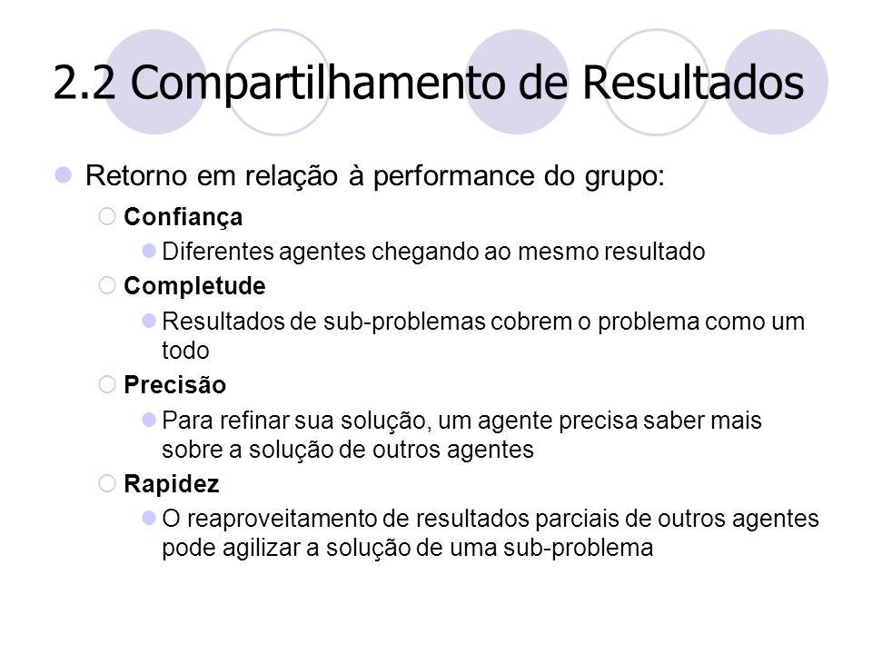 2.2 Compartilhamento de Resultados Retorno em relação à performance do grupo:  Confiança Diferentes agentes chegando ao mesmo resultado  Completude