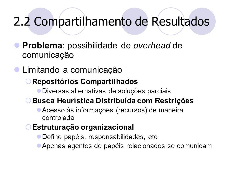 2.2 Compartilhamento de Resultados Problema: possibilidade de overhead de comunicação Limitando a comunicação  Repositórios Compartilhados Diversas a