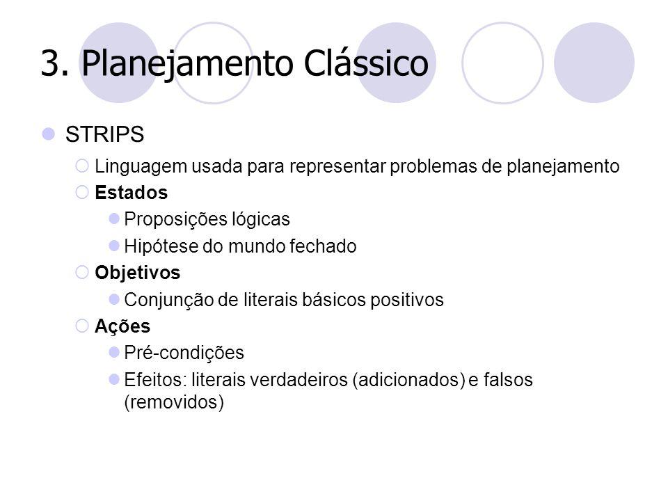 3. Planejamento Clássico STRIPS  Linguagem usada para representar problemas de planejamento  Estados Proposições lógicas Hipótese do mundo fechado 